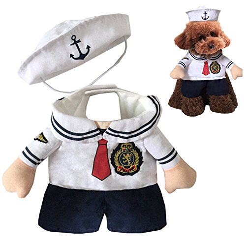 [EXPAWLORER Dog Christmas Costume Navy Suit with Sailor Hat for Holiday Small] (Dog Outfits For Christmas)