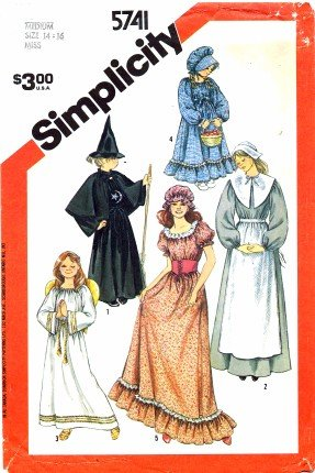 Simplicity 5741 Sewing Pattern Angel Witch Pilgrim Colonial Prairie Costumes Size 14 - -