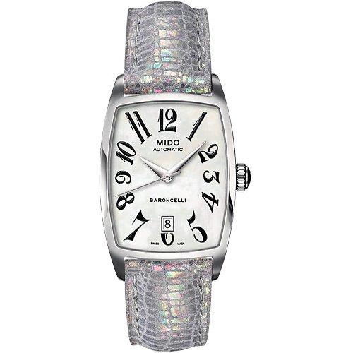MIDO Baroncelli Tonneau M0033071612200 - Reloj de Mujer automático, Correa de Piel Color Plata: Amazon.es: Relojes