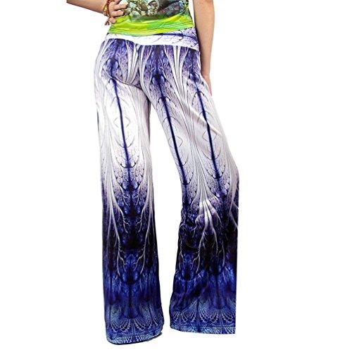 Chic Waist Eleganti Tempo Abbigliamento Colour Pantalone Stoffa 12 Stampato Ragazza Di Libero Estivi Pantaloni Lunga Accogliente Pantaloni Larghi Pantaloni High Palazzo Donna 0xA4qEw6