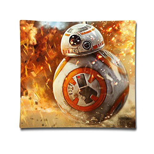 TBTJ Star Wars BB8 Cotton Pillow Case Custom Cushion Pillow Cover 18*18 One Size (Two Sides) by (Han Solo And Leia Pillow Cases)