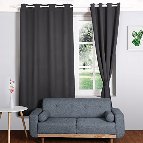 HOMFY Blackout Curtains for Bedroom, Thermal Insulated Panels Set of 2, Free 2 Ties for Pulling Back Drapes, Soft to Touch, Dust and Wrinkle Resistant (Dark Grey, 42