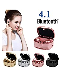 iPhone 8 Plus Earphones,TechCode Wireless Sports Earphones with Charging Box Noise Cancelling Sweatproof Mini Headset for iPhone iPad Samsung Tablets All Bluetooth Device(Rose Gold)