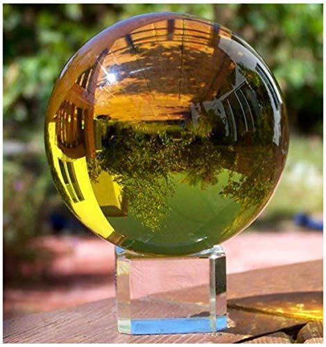 - H&D 80mm Crystal Meditation Ball Magic Globe with Free Stand,Crystal Magic Ball Healing Ball Glass Ball Paperweight (Amber)