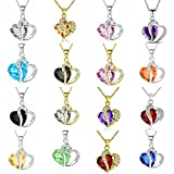 JQUEEN 1Pc Stylish Artificial Gem Love Heart Shape Pendant Chain Necklace Valentines Gift