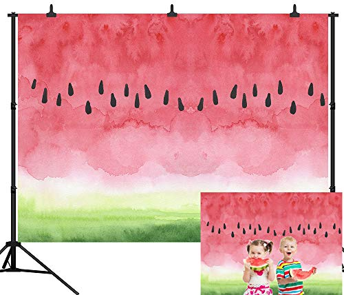 DePhoto 7X5FT(210X150CM) Watermelon Birthday Party Baby Shower Seamless Vinyl Photography Backdrop Photo Background Studio Prop PGT390A]()