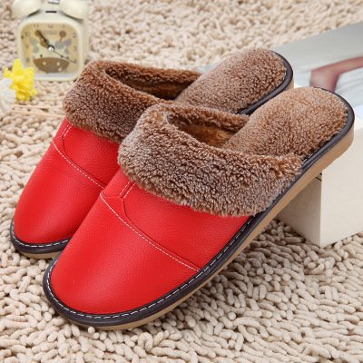 LaxBa Femmes Hommes chauds dhiver Chaussons peluche antiglisse intérieur Cotton-Padded Slipper Shoes big red43