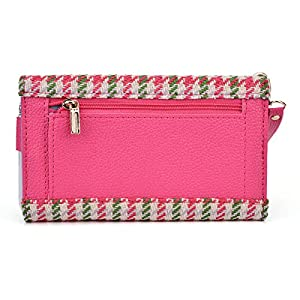 Wallet phone holder- accented coin zipper- Retro Houndstooth plaid pattern- Universal fit for Archos 50 Helium 4G