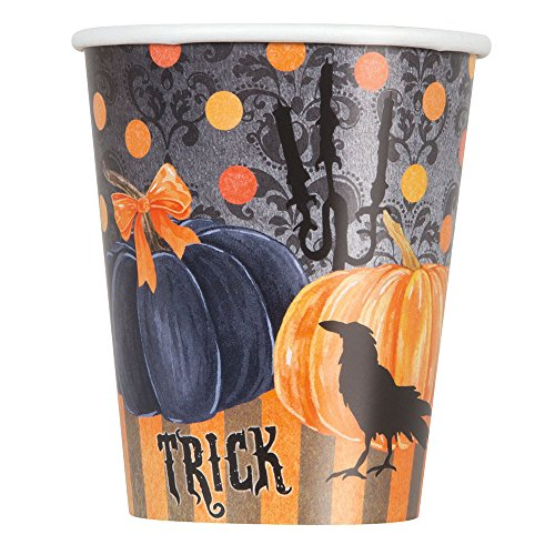 9oz Painted Pumpkin Halloween Party Cups, 8ct