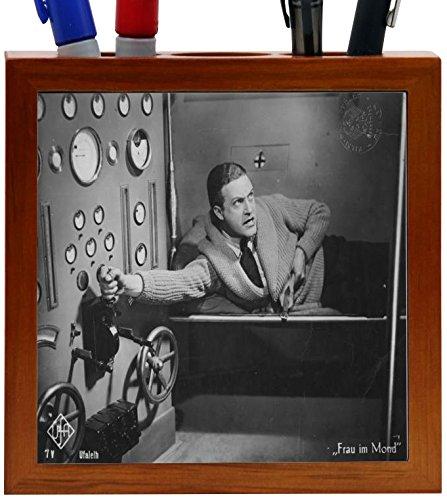 Rikki Knight Vintage Movie Posters Art Women on Moon 1 Design 5-Inch Wooden Tile Pen Holder (RK-PH3712)