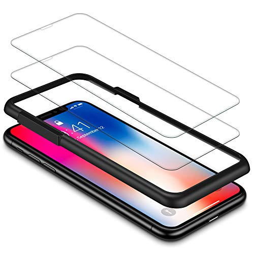 iPhone X Screen Protector, Snowpink(Clear,2 Pack) iPhone 10 Tempered Glass [3D Touch] 0.25mm [Case Friendly] [Bubble Free] Screen Protector with Easy Installation Frame Compatible iPhone X/10
