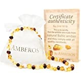 """Amber Teething Necklace for Babies (Unisex) """"Amberos"""" Directly From Lithuania. Certified Baltic Amber Baby Teething Necklace Highest Quality Guaranteed- Anti Inflammatory, Drooling & Teething Pain."""