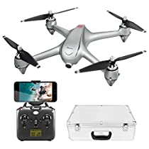 Potensic Drone GPS FPV Con Motore brushless Drone D80 WIFI Con Telecamera 1080P,Con Funzione di RTH e Sospensione Altitudine,Allarme di Bassa Pressione O WIFI Debole,Drone Dotato di Valigetta da Trasportare
