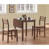 Monarch Specialties 3-Piece Solid-Top Drop Leaf Dining Set, Walnut