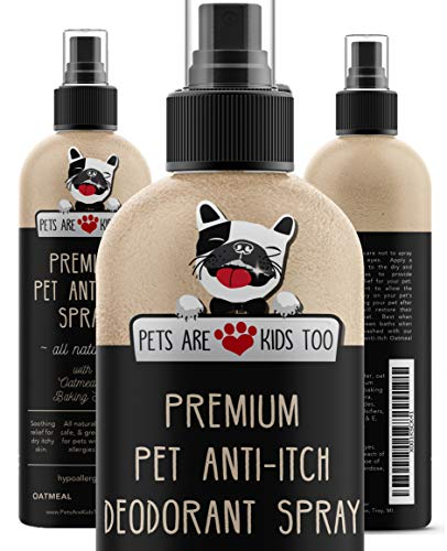 Premium Pet Anti Itch Deodorant Spray & Scent Freshener! ALL NATURAL & Hypoallergenic! Soothes Dogs & Cats Hot Spots, Itchy, Dry, Irritated Skin! Reduces Odor, Allergy Relief! Smells Amazing! (1 Btl) (Itchy Vitamins Skin)