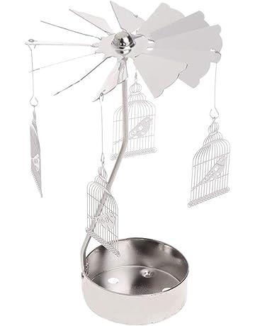 Longsw Rotary Spinning Tealight Candle Metal Tea Light Holder Carrusel Decoración Para El Hogar Regalos