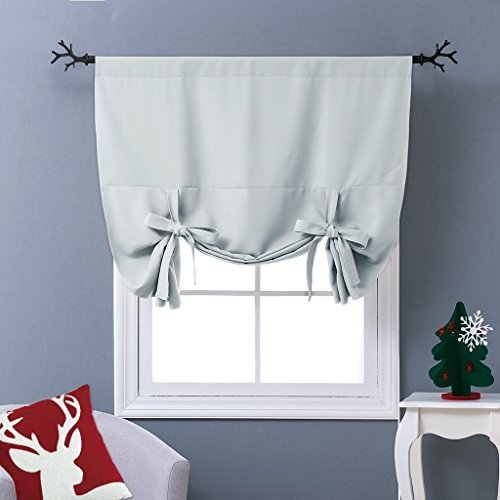 (NICETOWN Balloon Shades Window Treatment Valance - Room Darkening Curtain Tie Up Shade for Small Window (Greyish White, Rod Pocket Panel, 46