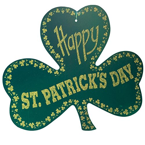 Shamrock Cut Out Decoration - Glittered Foil Shamrock Cutout Party Accessory (1 count)