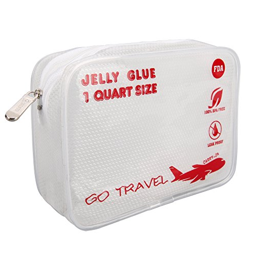 Clear Travel Toiletry Bag-TSA-Approved,1Quart Size ,3-1-1bag, Airport Airline Compliant Bag. XIANGYI (red) (1 Bag Quart)