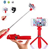 TabPow Selfie Stick Tripod With Detachable Bluetooth 3.0 Remote Shutter, Pocket Size, Extendable Aluminum Rod For iPhone 8/8+/7/7P/6/6P/SE, Galaxy S5/S6/S7/S8, LG, HTC, Moto, Huawei & More - Red