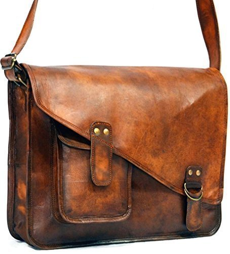 Goatstuff Vintage Style Real Leather Messenger Bag/ - Priority Fedex Tracking Number