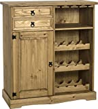 Seconique Corona Sideboard/Wine Rack Unit - Distressed Waxed Pine