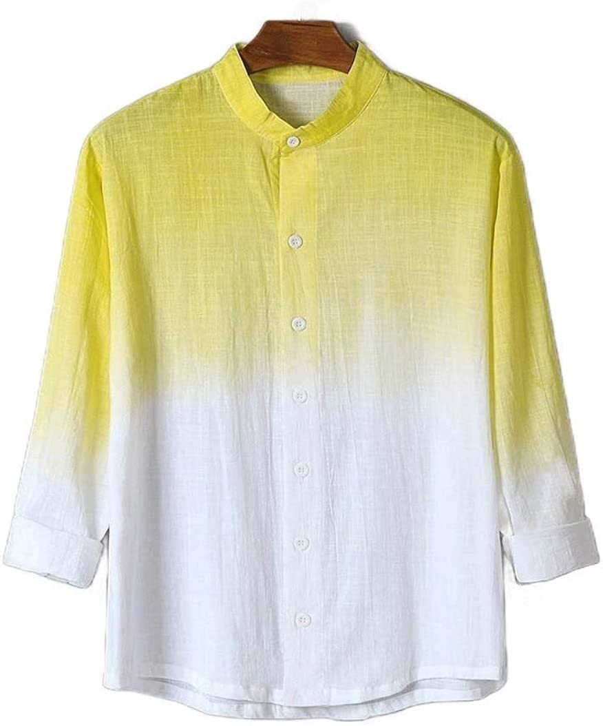 FiereMen Short Sleeve Gradients Cotton Linen Big /& Tall Fashion Shirts