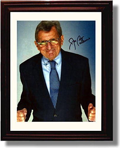 Framed Penn State Joe Paterno Ready to Fight Autograph Replica Print