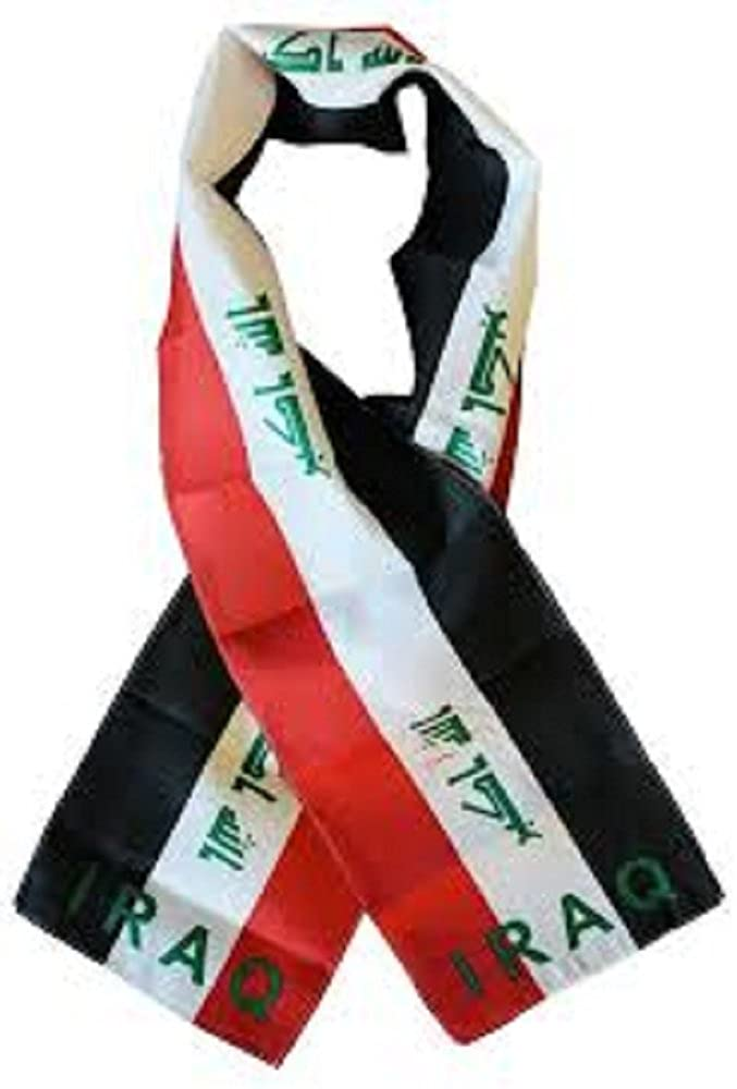 Iraq Country Lightweight Flag Printed Knitted Style Scarf 8x60