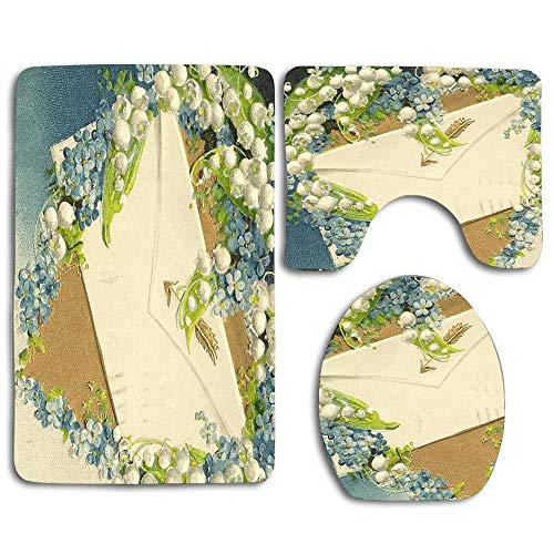 NEWcoco 3PCS Toilet Carpet Mats Seat Cushion Cover Doormat Romantic Forget-me-Nots and Lily-of-The-Valley with Love Letter