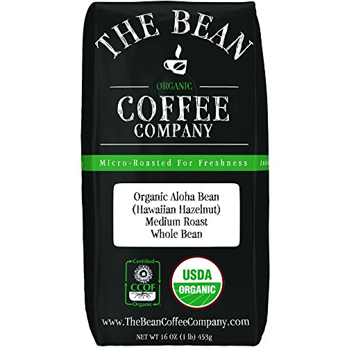 The Bean Coffee Company Organic Aloha Bean (Hawaiian Hazelnut), Medium Roast, Whole Bean, 16-Ounce Bag