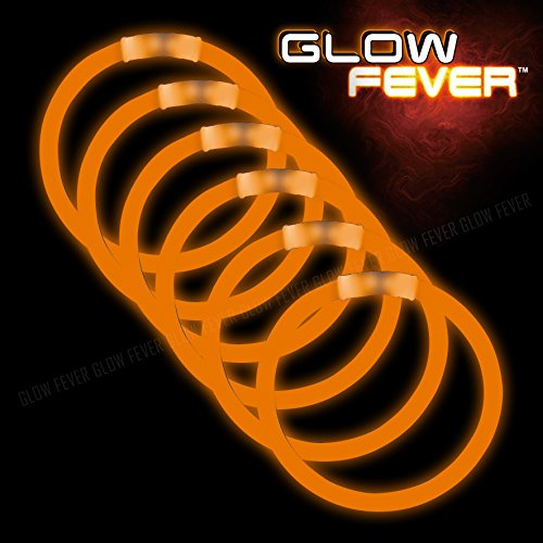 Orange Glow Sticks Bulk 50ct 8inches Bracelets - for Parties,Camping,Dances and Fireworks for $<!--$7.99-->