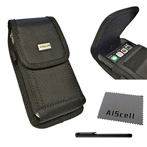 AIScell Pouch Clip Holster For Apple Iphone X, 8, 7, 6s, 6~ Black Tough Nylon Carrying Canvas Flap Case Duty Metal Belt Clip With Stylus Pen And Cleaning Cloth(Great Fit (Metal Case Stylus)