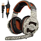 SADES SA918 Gaming Headset, USB Headset Stereo Over ear Gaming Headphones Supports Virtual 7.1 Channel Surround Sound with Retractable Microphone EQ Bass Boost Button LED Backlit for PC & Mac(Black)