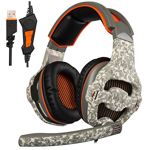 New Updated SADES SA918 7.1 Surround Stereo Sound USB Gaming Headset with Microphone,Bass Over-the-Ear Headphones Noise Isolating,LED Light For PC Gamers (Camouflage)
