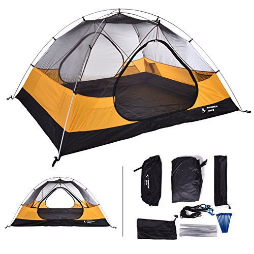 - MOUNTAIN HIKER Topper 2 Person Tunnel Tent Backpacking 3 Season for Camping Tent with Rainfly, Footprint, and Free Storage Bags Included