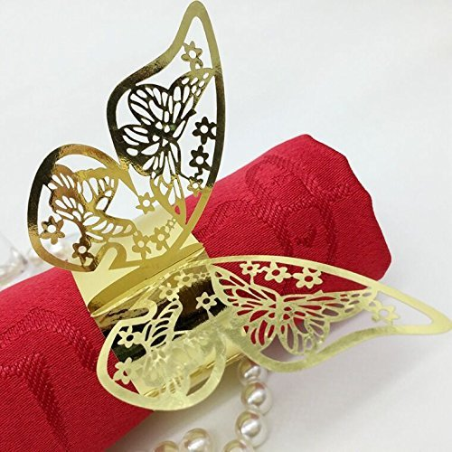 Baimeixun 100pcs 3D Butterfly Paper Napkin Rings for Weddings Party Serviette Table Decoration (Gold)