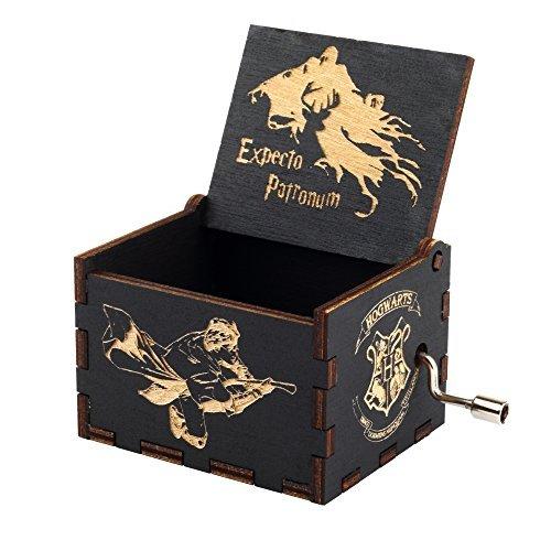 Hedwig Tema de Harry Potter Caja de música de madera personalizado Magic Hogwarts mano Cranked movimiento