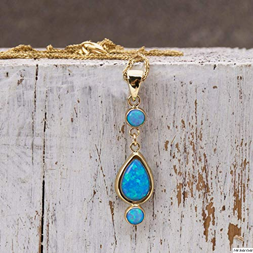 14K Gold Blue Opal Pendant - 3 Opal Dainty Stones Dangle Necklace: Main stone 7x10mm and two 4mm Stones, 14K Solid Yellow Gold Necklace with October Birthstone, Handmade Jewelry Gift for Women