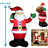 6 Foot Inflatable Santa Claus; LED Light Up Giant Christmas Xmas Inflatable Santa Claus Carry Gift Bag for Blow Up Yard Decoration, Indoor Outdoor Garden Christmas Decoration by Joiedomi
