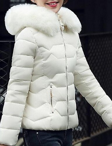 Polyester Down L Long Padded Casual Hooded Coatsimple Coat Outerwear Regular White ZHUDJ Sleeve Women'S wxTAqSgqF