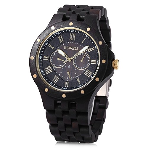 Bewell W116C Mens Wooden Watch with Date Day Luminous Hands Lightweight Wristwatch (Ebony) Date Black Watch