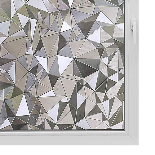 Window Film Non Adhesive Frosted Film Privacy Window Sticker Self Static Cling Vinly Glass Film Anti UV Decorative for Home Office Triangle 35.4 Inch x 6.5 Feet