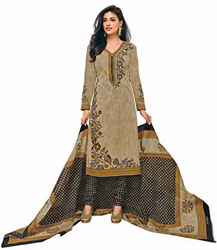 Miraan Cotton Printed Readymade Salwar Suit For Women(SGPRI603, Brown)