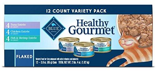 BLUE Healthy Gourmet Adult Flaked Tuna/Fish & Shrimp/Chicken Variety Pack Wet Cat (Chicken Shrimp)