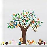 1 Pack Forest Animals Monkey Play Under Flower Tree Wall Stickers Sticker Decal Living Room Bedroom Teen Nursery Wonderful Popular Dream Butterfly World Moon Star Ocean Sun Vinyl Home Mural Art Decor