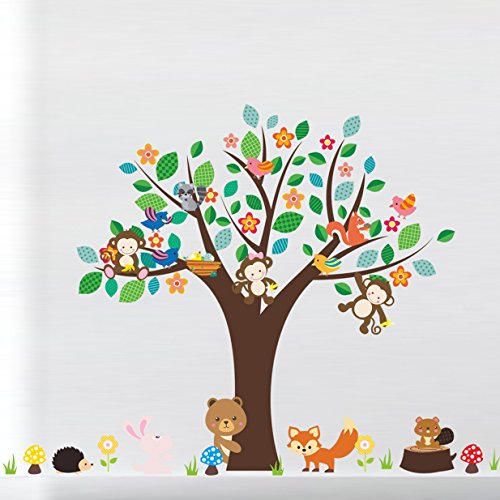 1 Pack Forest Animals Monkey Play Under Flower Tree Wall Stickers Sticker Decal Living Room Bedroom Teen Nursery Wonderful Popular Dream Butterfly World Moon Star Ocean Sun Vinyl Home Mural Art Decor by GVGs Shop