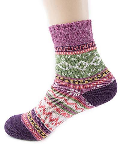 Kidsform Women Crew Socks Winter Soft Warm Cotton Sock Casual Wool Socks Knit Multi-color 5 Pairs Pack