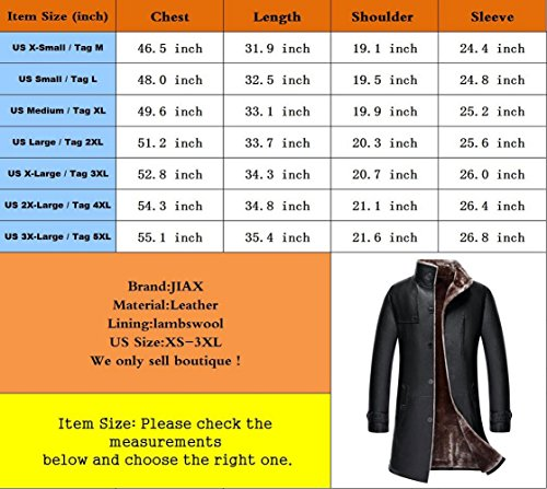 JIAX Mens Classic Winter Warm Sheep Skin Leather Coat Parka Lamb Wool Lined Jacket (US 3X-Large, US/1807 Black) by JIAX (Image #6)'
