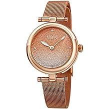 Burgi Designer Women's Watch – Rose Gold Tone Stainless Steel Mesh Strap – Swarovski Crystal Markers, Blue Glitter Dial - Bracelet Band - BUR231RG